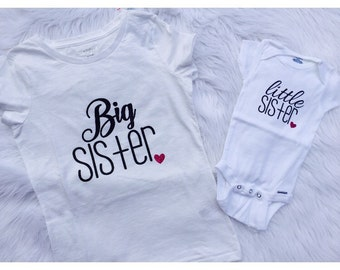 Set of 2 Big sister / little sister matching shirts