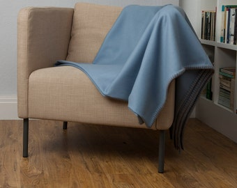 Sky Blue Pure Wool Sofa Throw and Bed Blanket with Cream Whipstitch