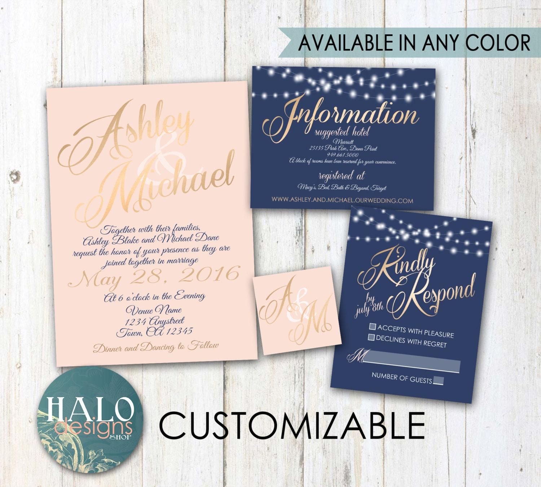 Gold And Blush Wedding Invitations: Classic Blush & Navy Wedding Invitations Gold Neutal