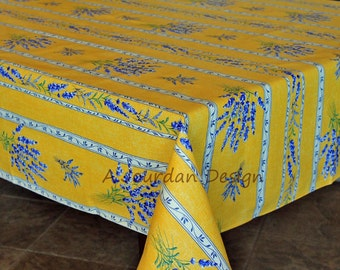 Charming French Provence Tablecloth LAVENDER YELLOW Rectangle Acrylic Coated Stain  Proof   French Oilcloth Tablecloth   Matching
