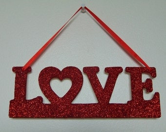 Love Red Glittery Decorative Hanging Sign