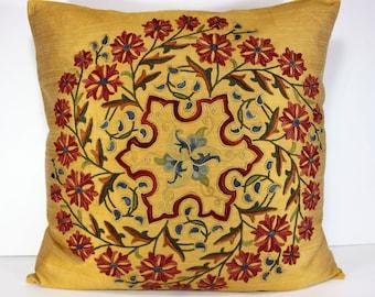 Silk Suzani Pillow cover, Suzani Pillow, Bohemian Pillow, Boho Pillow, Moroccan Pillow, Decorative Pillows, Accent Pillows, SP109