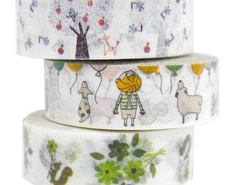 Washi Tape Japanese Masking Tape By Shinzi Katoh Designer SET 0f 3 - U