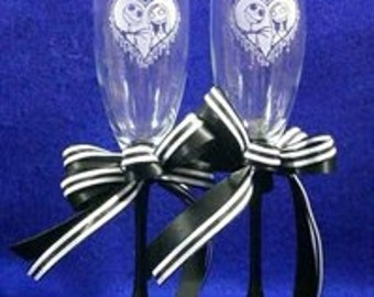 Nightmare Before Christmas Jack Sally Black and White Wedding Glasses Personalized