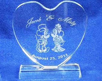 Minnie Mickey Mouse Heart Wedding Cake Topper Engraved Crystal - Personalized FREE