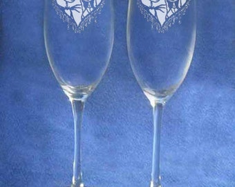 Nightmare Before Christmas Jack Sally Wedding Glasses Personalized Engraved