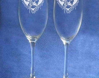 Corpse Bride Victor Emily Wedding Glasses Flute Engraved Personalized