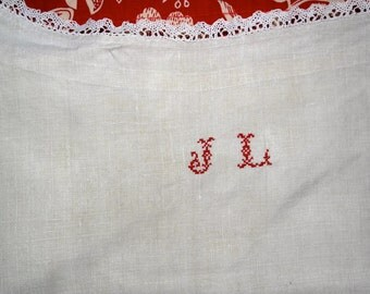 Stunning Antique French Chemise smock Linen hand made lace Monogram cross stitched J L