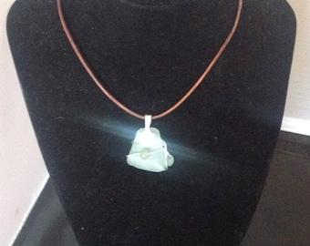Aquamarine sea glass pendant necklace