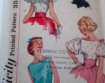 Simplicity Pattern 2429, Vintage Blouse Pattern, 1950's Blouse Pattern, Vintage Simplicity Sewing Patern, Retro Blouse Pattern