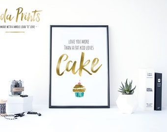 Large A4 print in a A3 Frame - Fat Kid Loves Cake