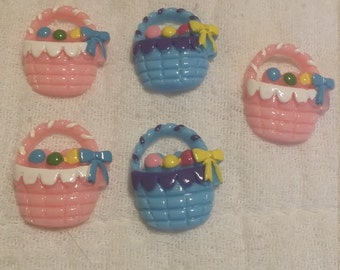Mix and match pink and blue easter basket flat back resin set of 5.