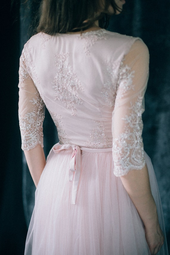 Pink Wedding Dress Dream Meaning : Wedding dress quot blush dream bridal gown light pale pink tulle