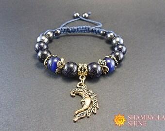 Gold moon bracelet Blue aventurine gemstone Dark blue cat eye Waxed cotton cord Night sky moon Talisman for good luck Shamballa bracelet