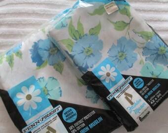 Blue Floral Full / Double Flat Sheet & Pillowcase Set- NOS