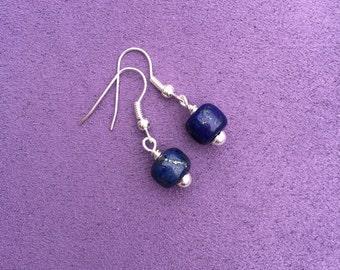 Lapis Lazuli Drop Earrings, Lapis Earrings, Simple Lapis Lazuli Earrings, Simple Drop Earrings, Blue Gemstone Earrings, Ethically Sourced