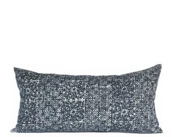 Hmong Heart & Hook Block Indigo Batik 10x20 Rectangle Pillow