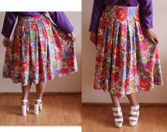 Vintage Skirt Women's High Waisted Skirt Floral Print Skirt Colorfull  Summer Skirts Women's Midi Skirt Medium To Large Size