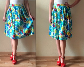 Vintage Skirt Women's Skirt High Waist Skirt Floral Print Skirt Blue Green Red Yellow White Summer Skirts Women Midi Skirt Size Extra Large