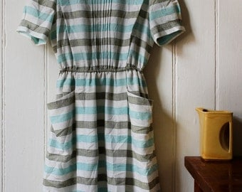 Vintage 1980's Japanese blue striped dress - Medium
