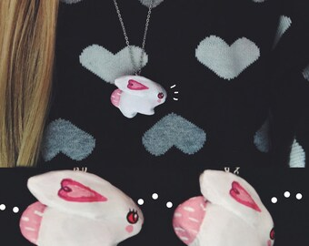 Pink & White Bunny Necklace