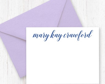 """Full Name Custom Stationery / Set of 15 / Script / Flat Card / 4.25x5.5"""" / Greeting Card / Personalized Notecards"""
