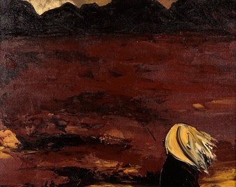 """Figure painting, canvas wall art 18x24- woman in Mountains, """"Across the Expanse"""""""