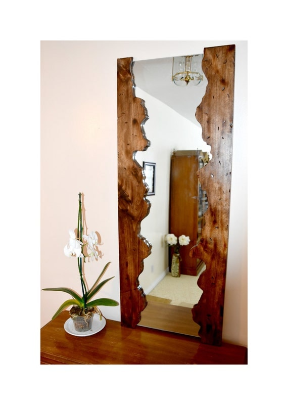 Wood mirror wood mirror frame rustic mirror by juniperwoodshop for Wood framed mirrors for bathrooms
