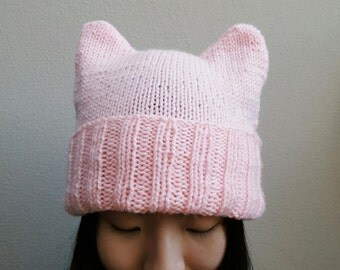 Knitted Ears Beanie -- Pink