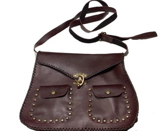 Handmade red wine leather handbag
