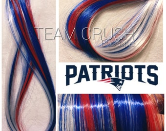 "NEW ENGLAND PATRIOTS 18"" Clip-In Hair Extension Set - 4 Pieces!"