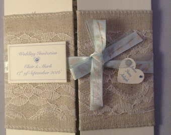 Linen, lace and ribbon gate style wedding invitation with inserts. Wedding invitation set Wedding invitation rustic Wedding invitations UK