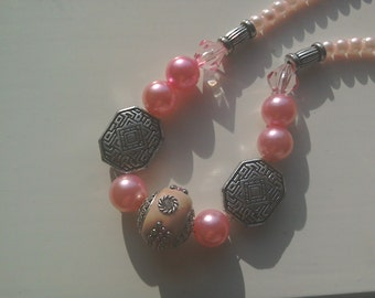 Pink and silver beaded necklace