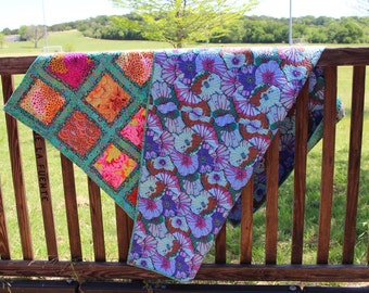 Kaffe Fassett quilt | Green and Floral throw | Modern Flower Blanket | Custom quilted square throw| Designer fabric quilt | ready to ship