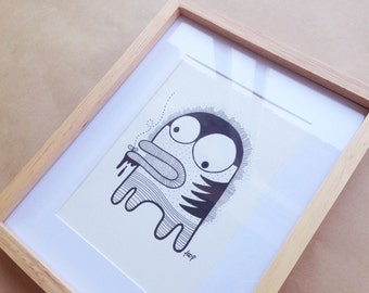 Character illustration 2 - Ink Pen on Paper, Handmade and Framed