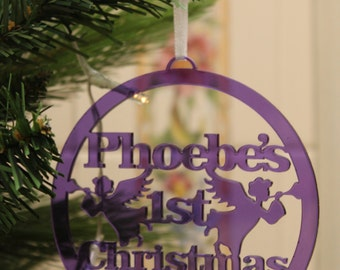 Purple Acrylic Christmas Personalised with name tree decoration memory ornament