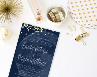 Moon And Stars Printable Wedding Invitation Suite Custom Navy Gold Modern