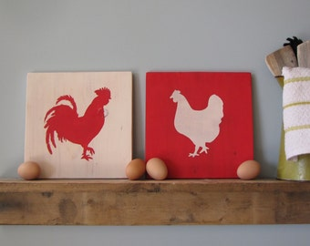 Rooster and Hen wall art