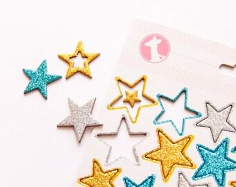 Chipboard Glitter Star Embellishments
