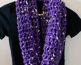 Handmade thick and chunky purple and gold leaf crochet circle infinity scarf