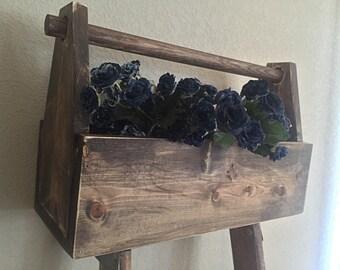 Rustic wood tote | Wood Toolbox | Wooden tote | Wooden box | Wooden  toolbox | Wood box | Storage | Home Decor | Caddy | Fixer Upper Decor