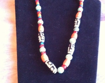 Aztec Glazed Bead Necklace and Matching Earrings