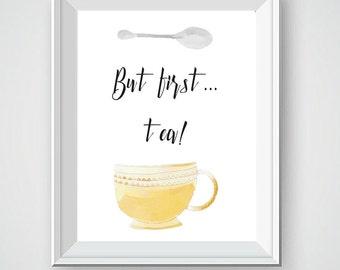 Kitchen Art, Watercolor Art, Tea Cup, Kitchen Decor, Hot Tea, Kitchen Art, Kitchen Wall Decor, Wall Art Decor, Kitchen Wall Art, Vintage Cup