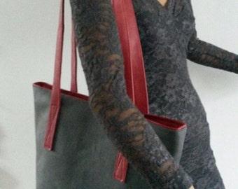 Gorgeous leather handmade shopper/shoulder bag, grey-red