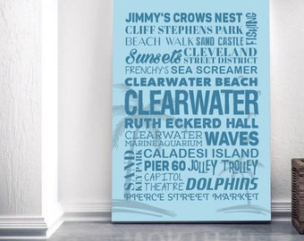 Clearwater Florida Themed Canvas