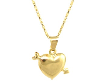 Heart Necklace/14K Gold Filled/Love Charm/Gold Necklace