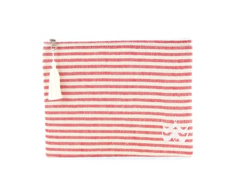 Trousse Foutfouta en tissu fouta rouge - Pompon (tassel) en fils de coton blancs