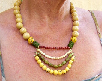 Green and Yellow Ethnic Necklace, Ethnic and Tribal Jewelry, Re-Cycled Statement Necklace ,Colombian Fashion Jewelry, Eco-Friendly Fashion,