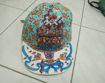 Rare Vintage BAND THE QUEEN Crown Full Printed Cap Hat Free size fit all