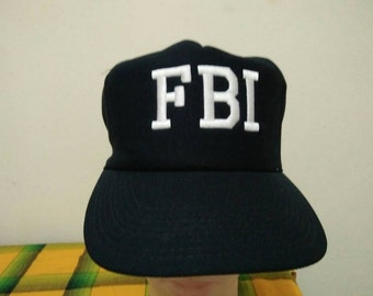Rare Vintage FBI Embroidered Cap Hat Free size fit all